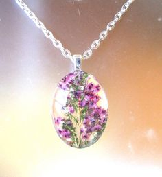 Real  Pressed Flower  Heather  Oval Glass by GardenGemsJewelry, $21.95