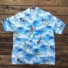 f5d20da5 Marlin Deep Sea Fishing Hawaiian Shirt- Men's XL- Vintage Tiki Shirt- Luau-