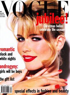 Claudia Schiffer, photo by Walter Chin, Vogue Australia, December 1992