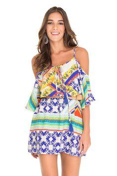 vestido ombro vazado estampa penas tribais - Vestidos | Dress to