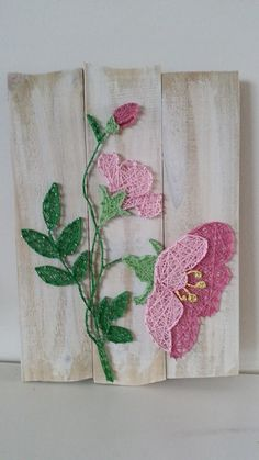 Pink flowers string art. Check us out on Facebook at All Strung Up - https://www.facebook.com/pages/All-Strung-Up/915873695199667?ref=hl