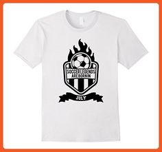 Mens Soccer T-shirt Ball and Flame Legends Are Born In July Medium White - Sports shirts (*Partner-Link)