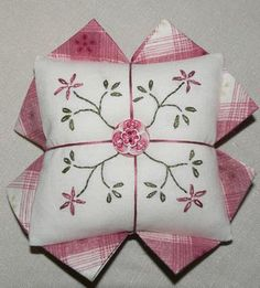 Pretty in Pink Pincushion with free pattern and instructions.