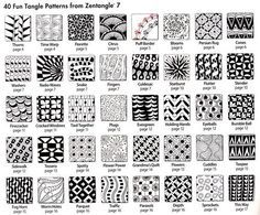 How to Zentangle Patterns Free   Free Zentangle How To Patterns   40 more tangles with How-to steps for ...
