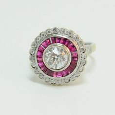 Art Deco Diamond and Ruby Cocktail Halo Engagement Ring #Cocktail