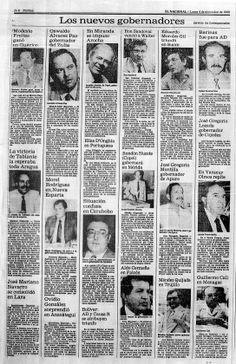 Gobernadores electos en las primeras elecciones regionales. Publicado el 4 de diciembre de 1989.