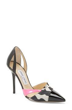 Love the hint of pink on these Jimmy Choo d'Orsay pumps.