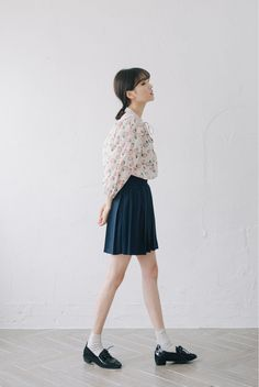 blouse + pleated skirt + pointed flats