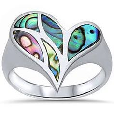 Abalone Shell Anchor .925 Sterling Silver Ring Sizes 5-10