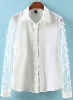 White Lapel Contrast Chiffon Long Sleeve Blouse US$26.67
