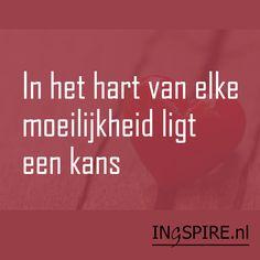 Citaat Albert Einstein: In het hart van elke moeilijkheid ligt een kans | www.ingspire.nl