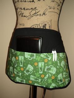 Server Half Apron- St. Patrick's Day - Beer and Shamrocks by FromNinasCloset on Etsy