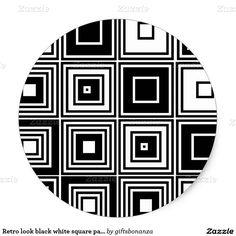 Retro kijk zwart wit vierkant patroon ronde stickers