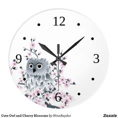 Cute Owl and Cherry Blossoms Large Clock