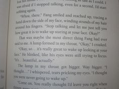 From Maximum Ride:FANG(Book Fang woke up.I was so thankful James.<<<No, this is from Nevermore, when Fang wakes up on Pierpoint's jet after he nearly dies from Ari's clone and Dylan beats him up. Maximum Ride Quotes, Maxium Ride, Fear Of School, Little Miss Books, Will Herondale, Book Fandoms, Book Quotes, In This Moment, Gallagher Girls