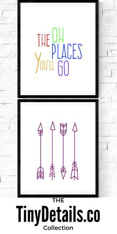 Oh the places you'll go. Nursery art, nursery décor, nursery quotes, modern nursery, nursery artwork, kids, baby, and nurseries all at www.tinydetails.co