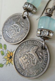 Vintage 1926 Sixpence Coin Chalcedony Earrings by CobwebPalace