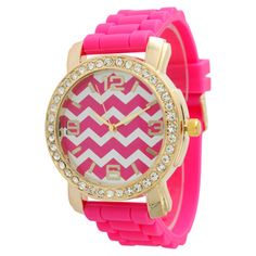 Chevron Silicone Watch in Hot Pink