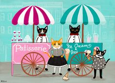 Ice Cream and Sweets Carts Original Cat Folk Art Painting by KilkennycatArt (Ryan Conners) Retro Illustration, Illustrations, I Love Cats, Cute Cats, C Is For Cat, Fancy Cats, Photo Chat, Cat Cards, Cat Drawing