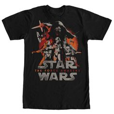 Gear up for an epic battle between the light side and the dark with the Star Wars The First  Attacks Black T-Shirt! TIE Fighters soar behind Kylo Ren, Captain Phasma, Flametroopers, and Stormtroopers  in attack mode on the front of this awesome black