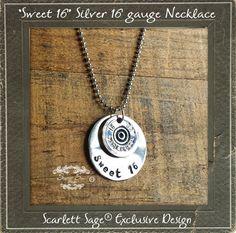 Bullet Jewelry Sweet 16 Shotgun Silver Necklace by ScarlettSage