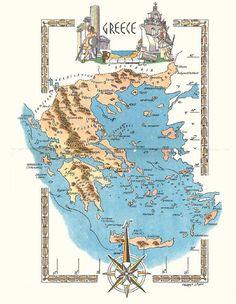 Mediterranean sea maps world mapstravel maps pinterest greece map travel walldecor wallart greek athens gumiabroncs Image collections