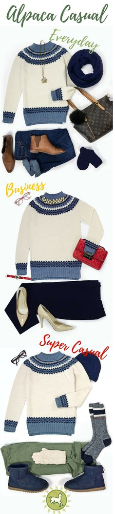 It's easy to love our Baltic Sea Fair Isle sweater in pure baby alpaca. Express your fashion sense no matter where you go in this natural off white crew neck pullover with heather blue and navy details. Alpaca is the smart luxury you have been waiting for.