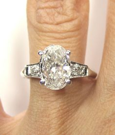 1930s...2.12ct Antique Vintage Platinum OVAL Cut Diamond  SOLITAIRE Engagement Ring  #Rings