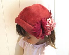 Girl's vintage pink fur felt hat, matching feathers and flowers with pink pearl tipped stamens, La Familiare, Italy, circa 1950s by CardCurios on Etsy