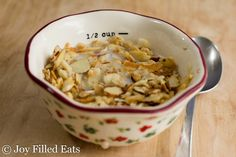 This Almond Coconut Sesame Seed Granola has the perfect crunch with just enough sweetness to sweeten your morning. Low Carb, Grain/Dairy/Sugar-Free, THM S
