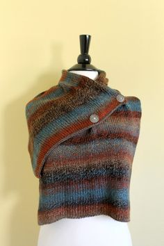 Scarf With Buttons. Hand Knit Wrap Ultra by LittleYellowRoomShop