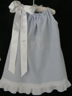 Toddler+Girl+Summer+Dress+Pillowcase+Blue+by+ClassicStitchesSTL,+$30.00