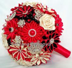 Tela boda ramo ramo de broche rojo Beige y negro por LIKKO en Etsy