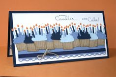 handmade birthday card ... wide and short ... lots of candles for big 0 birthday ... cupcake builder ... Stampin' Up!