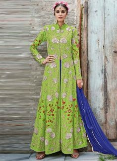 Precious Parrot Green Embroidery Work Crepe Long Anarkali Suit