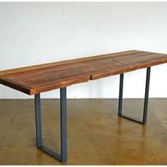 Love the simplicity.    Furniture. Home office desk, simple desk long table, rectangle desk leg. Skinny long table desk ideas images.