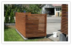 Mairerakentaa.fi Trash Can Storage Outdoor, Bin Shed, Balcony Railing Design, House Yard, Home Fireplace, Water Features In The Garden, Outdoor Living, Outdoor Decor, Curb Appeal