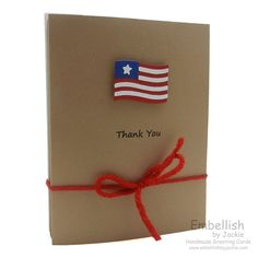Flag Cards Thank You Invitations Handmade by EmbellishbyJackie, $20.00