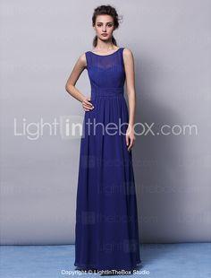 Floor-length Chiffon Bridesmaid Dress - Ruby / Grape / Champagne / Regency / Ocean Blue Plus Sizes / Petite Sheath/Column Jewel 2015 – £65.69