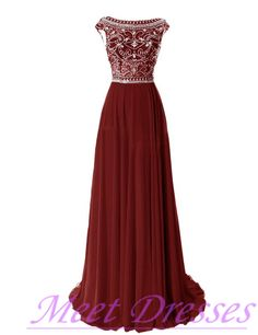 Elegant Wine Red Evening Gowns Long Chiffon Silver Beaded Chiffon Gown With Cap Sleeves Burgundy Prom Dresses