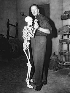 Vincent Price on the set of House on Haunted Hill