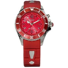 KYBOE! Power Red Silicone & Stainless Steel Strap Watch/40mm ($200) ❤ liked on Polyvore featuring jewelry, watches, apparel & accessories, fiery red, red wrist watch, sporty watches, silicon watches, silicone strap watches and dial watches