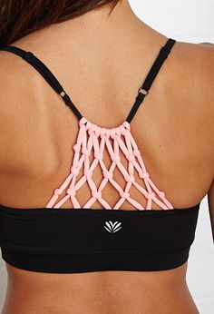 FOREVER 21 Medium Impact- Macrame Yoga Sports Bra Black/Neon Coral X-Small