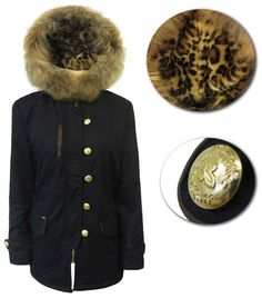 Super new winter coat with leopard print lining, military buttons and a lovely, fur trimmed hood. Chase those winter chills away. Fur Trim, Winter Coat, Canada Goose Jackets, Winter Jackets, Military, Buttons, Fashion, Moda, Winter Vest Outfits