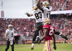 Saints vs. 49ers:  41-23, Saints  -  November 6, 2016  -    New Orleans Saints wide receiver Willie Snead (83) and New Orleans Saints wide receiver Michael Thomas (13) celebrate touchdown infront of San Francisco 49ers cornerback Jimmie Ward (25) in the first quarter during a game at Levi's Stadium on Sunday, November 6, 2016 in Santa Clara, Calif.