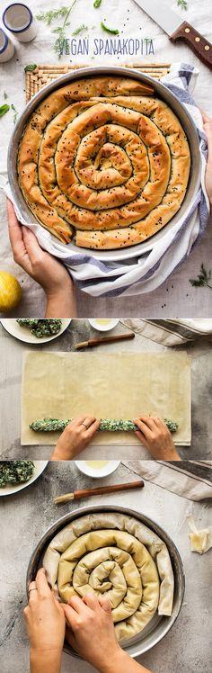 Vegan spanakopita – Greek spinach pie – Yemek Tarifleri – Resimli ve Videolu Yemek Tarifleri Greek Recipes, Veggie Recipes, Whole Food Recipes, Vegetarian Recipes, Cooking Recipes, Healthy Recipes, Easy Recipes, Vegan Foods, Vegan Dishes