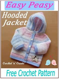 Easy peasy hooded jacket, simple single and double crochet stitches are used throughout this design, find the FREE crochet pattern on crochetncreate. Double Knitting Patterns, Crochet Blanket Patterns, Baby Blanket Crochet, Baby Patterns, Crochet Stitches, Crochet Edgings, Shawl Patterns, Cross Stitches, Crochet Motif