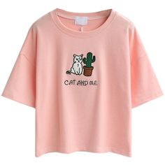 Pink Embroidery Letter And Cat Patch Short Sleeve T-shirt ($18) ❤ liked on Polyvore featuring tops, t-shirts, letter t shirts, pink tee, embroidery top, pink t shirt and cotton tee