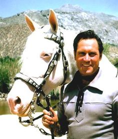rare photo of the 'Lone Ranger' (Clayton Moore) unmasked. with his horse Silver. -Lived: Sep 14, 1914 - Dec 28, 1999 (age 85)