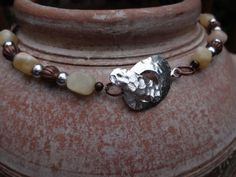 Copper Choker Necklace Copper Necklace Yellow Jade by YoursTrulli, $32.00